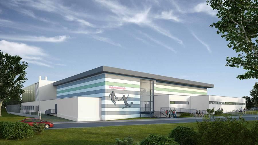 So wird die neue Halle aussehen (Modell Foto)